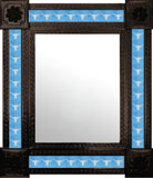 punched dark metal tile mirror white sky blue
