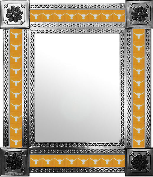made by hand natural tin tile mirror white yellow