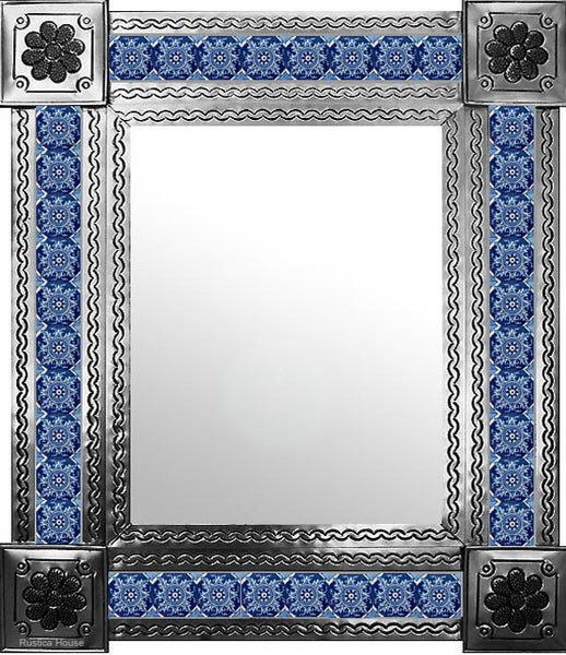 hand fabricated natural tin tile mirror blue white