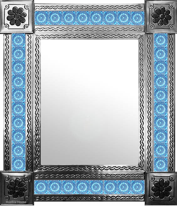 artisan created natural tin tile mirror sky blue