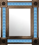 artisan created old copper tin tile mirror sky blue