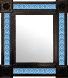 artisan created dark metal tile mirror sky blue