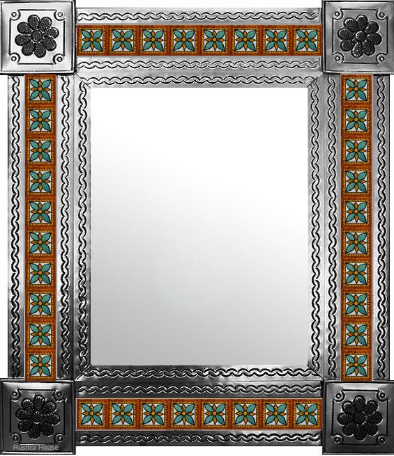 hand hammered natural tin tile mirror green brown white