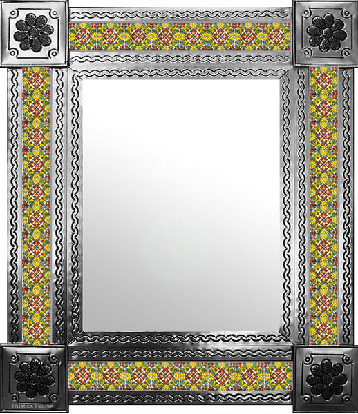 handcrafted natural tin tile mirror terracotta yellow white
