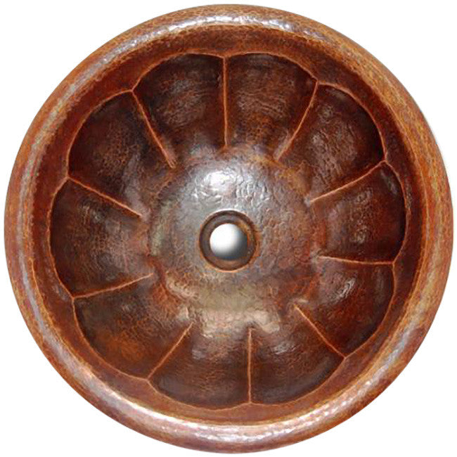 old European round copper bathroom sink