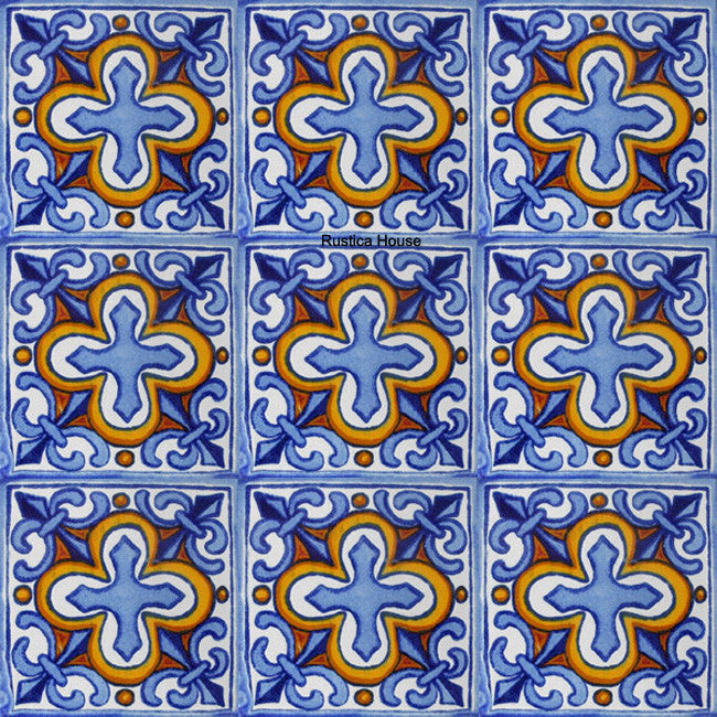 colonial sky blue yellow talavera tile