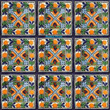 old European orange blue talavera tile