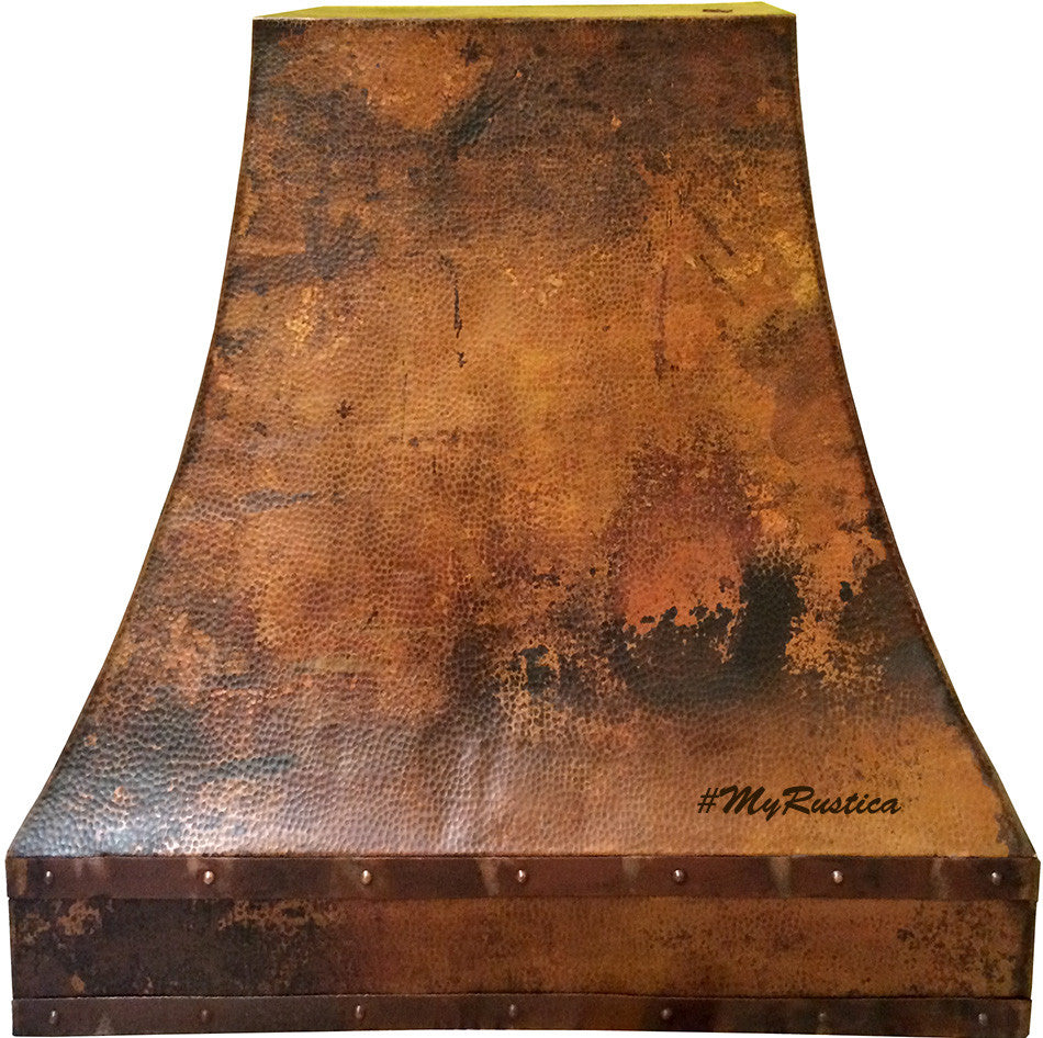 custom hammered copper range hood