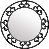 french style iron mirror round