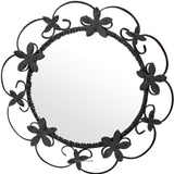 round wrough iron mirror