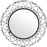 round decorative wrought iron mirror