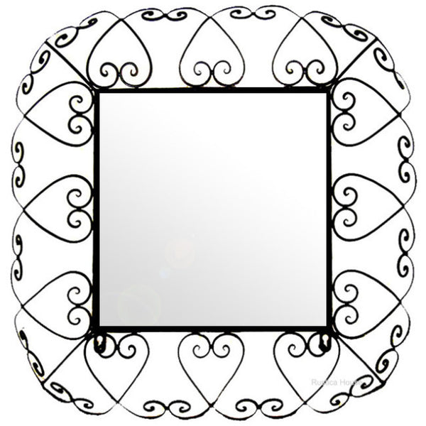 square wrought iron mirror