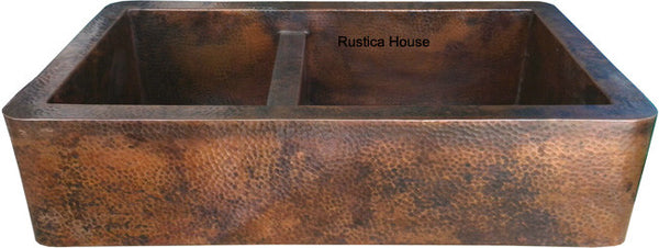 custom hammered European copper kitchen apron sink