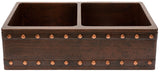 custom hammered country copper kitchen apron sink