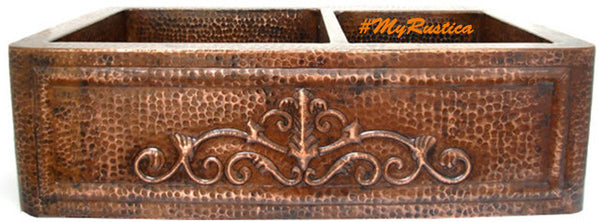 custom made colonial copper kitchen apron sink