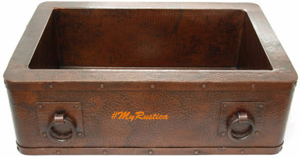 custom made modern copper kitchen apron sink
