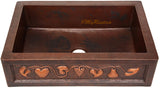 custom made country copper kitchen apron sink