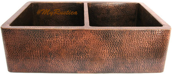 custom hammered modern copper kitchen apron sink