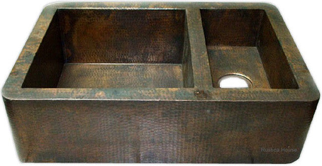 custom hammered colonial copper kitchen apron sink