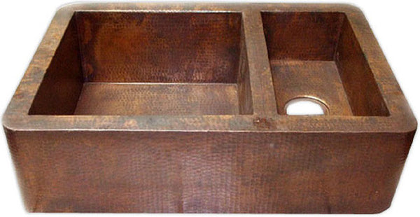 custom hammered mexican copper kitchen apron sink