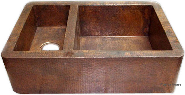 custom hammered old world copper kitchen apron sink