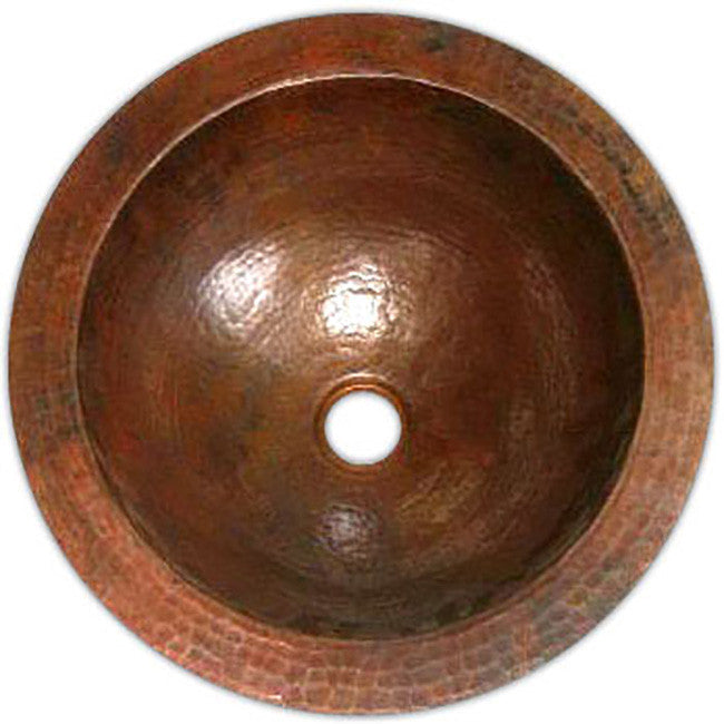 custom crafted round copper bathroom sink