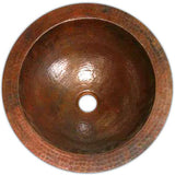 custom crafted round copper batrhoom sink