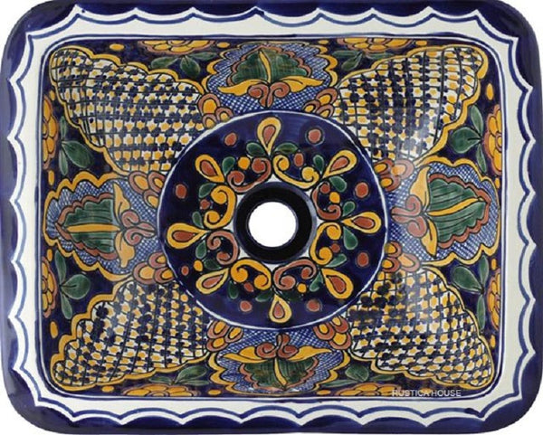 cobalt rectangular talavera sink