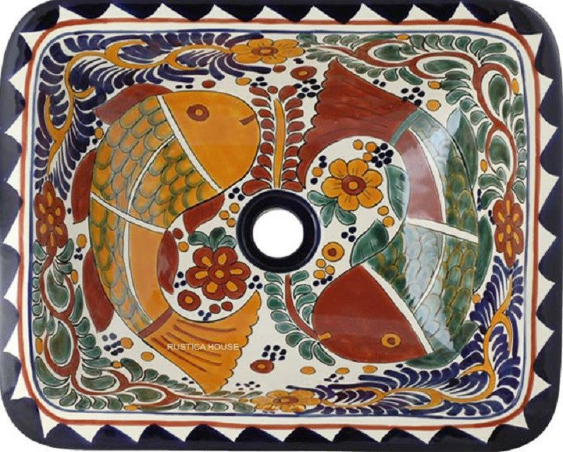 colonial rectangular talavera sink