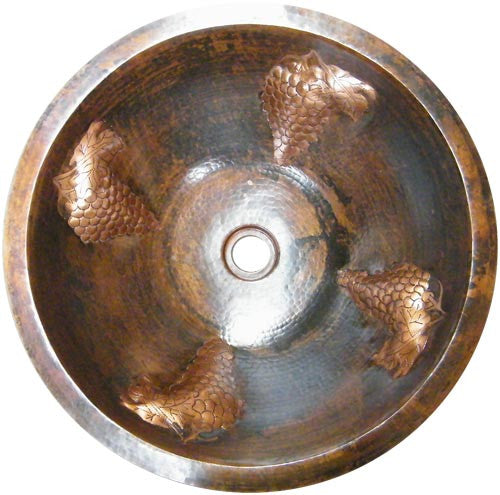 santa clara del cobre round copper bathroom sink