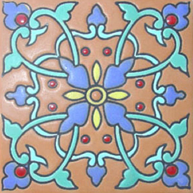 hand fabricated Spanish relief tile