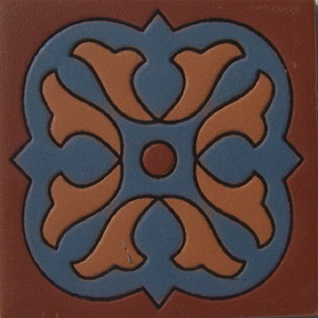 relief tile handmade blue