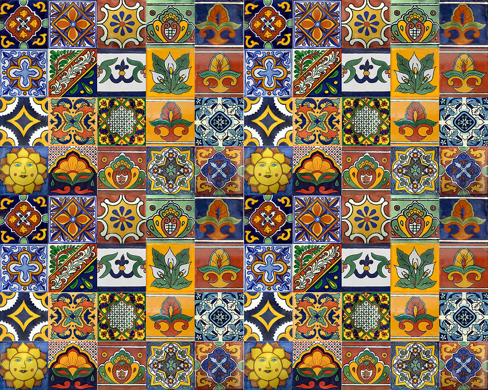 painted mexican mosaic tiles