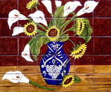 traditional ceramic tile backsplash mural