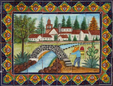 European ceramic tile backsplash mural