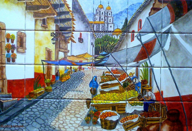 Spanish ceramic tile mural