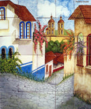 old world custom made kitchen mural