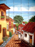 European hand painted kitchen mural