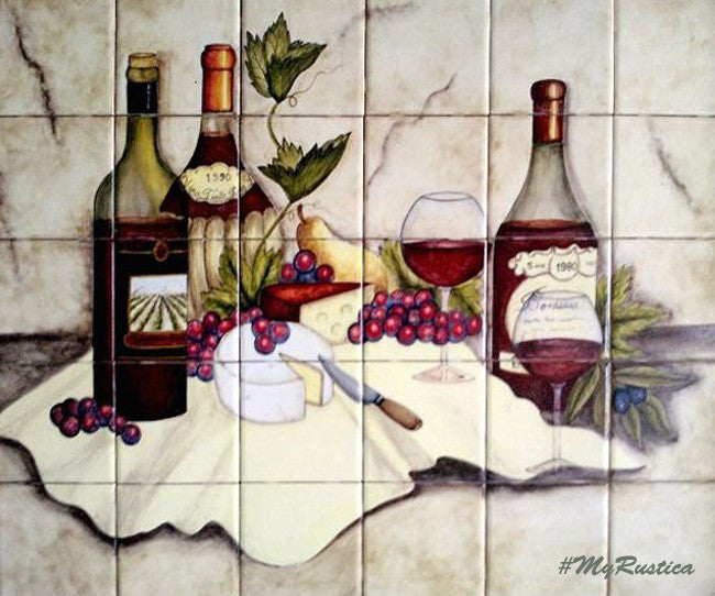 French artisan made backsplash mural
