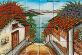 old world ceramic tile backsplash mural