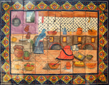 European ceramic tile mural