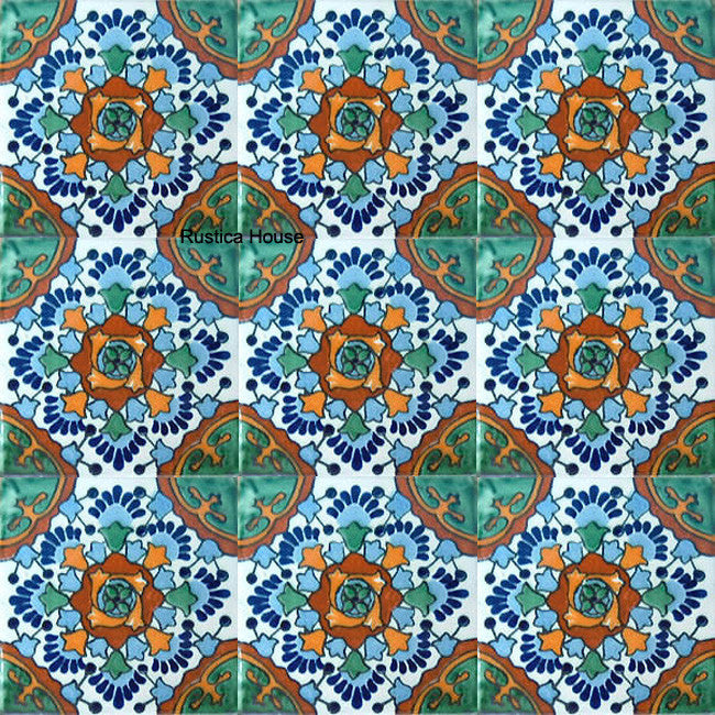 mexican green blue talavera tile