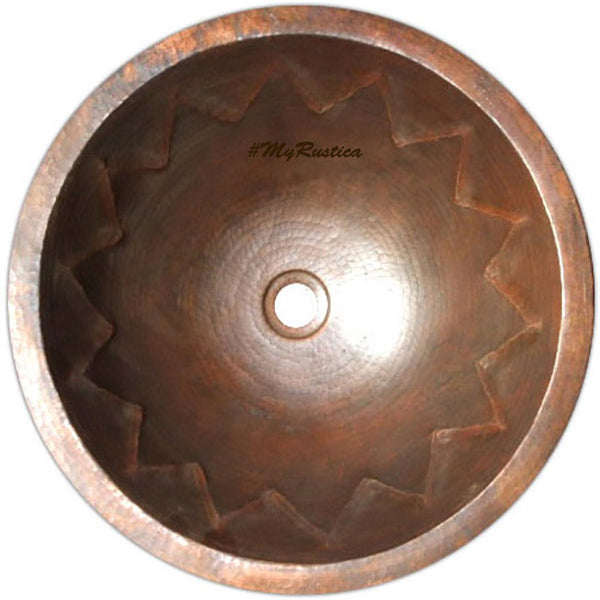 vintage round copper bathroom sink
