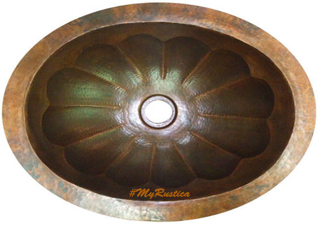 country oval copper bathroom sink