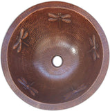 rustic round copper bathroom sink dragonfly