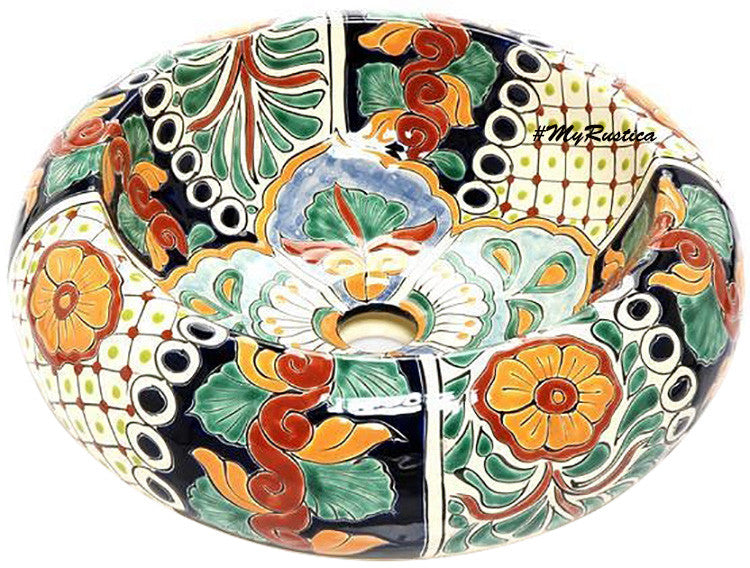 hand painted mexican vessel sink