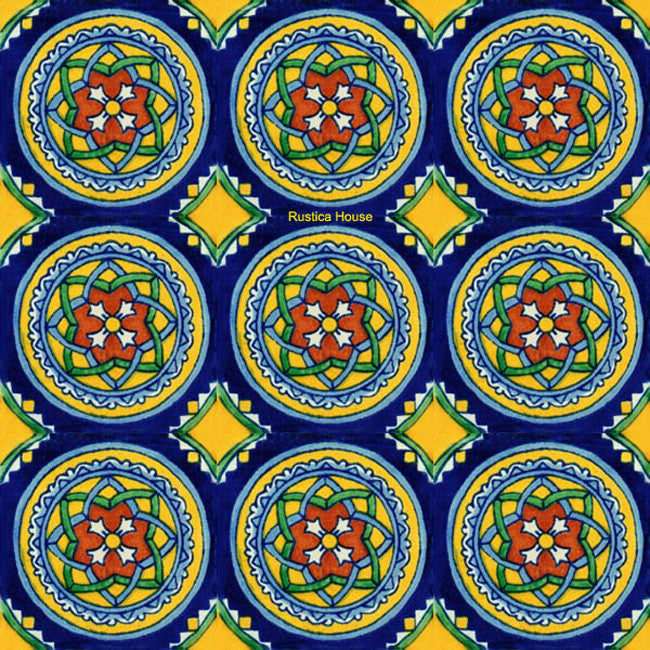 rustic blue yellow talavera tile