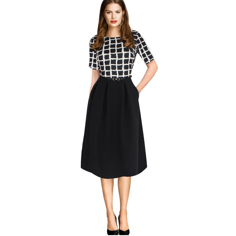 Women s Apparel - Work Dress - A - Line - Belted Patterned Tunic - PLUS  SIZE INCL 39e83540e