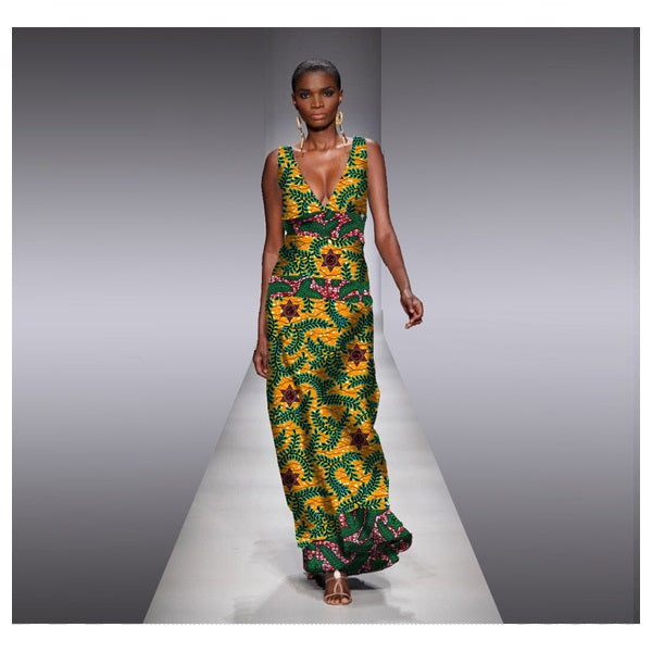 Women S Apparel African Caribbean V Neck Vogue Print Maxi