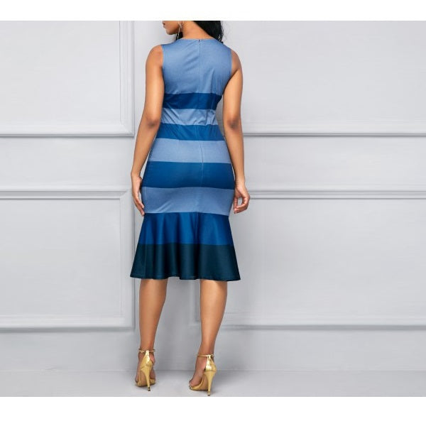b10aa6e7394634 Women s Apparel - Striped Sleeveless Peplum Hem Sheath Dress - 84degrees